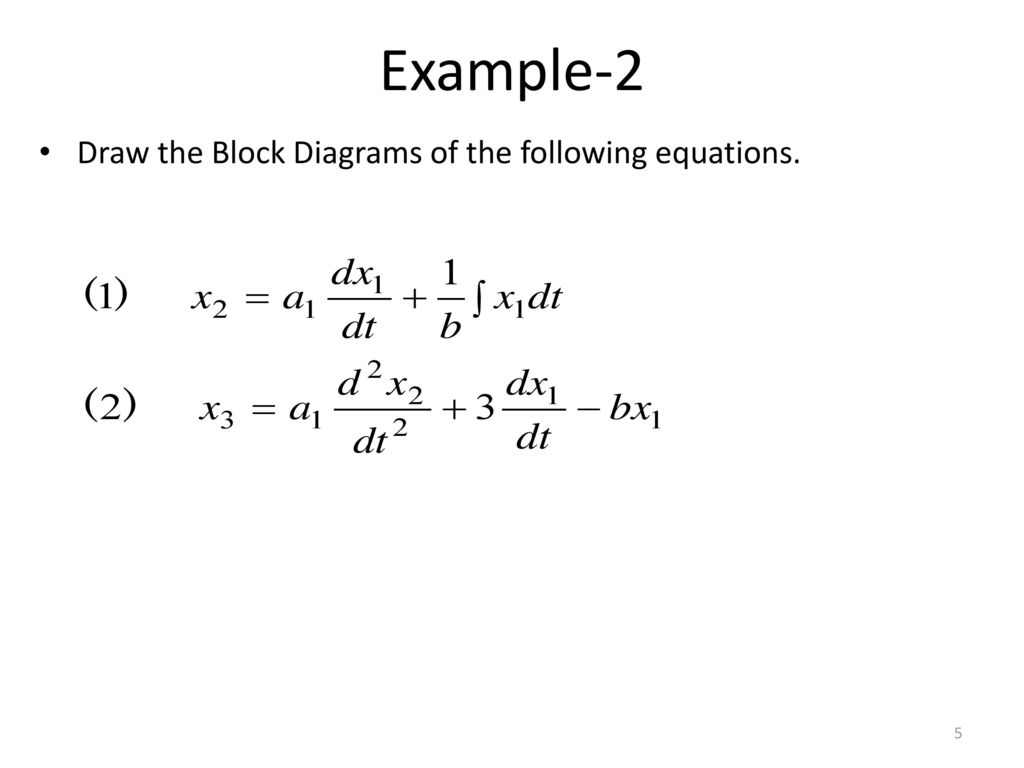 Block Diagram Representation Of Control Systems Ppt Download V F Method 5 Example 2 Draw The Diagrams Following Equations