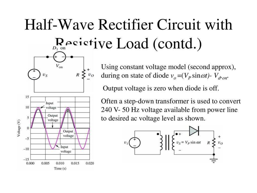 Diode Circuit Analysis 2 Ppt Download Voltage Rectifier Half Wave With Resistive Load Contd