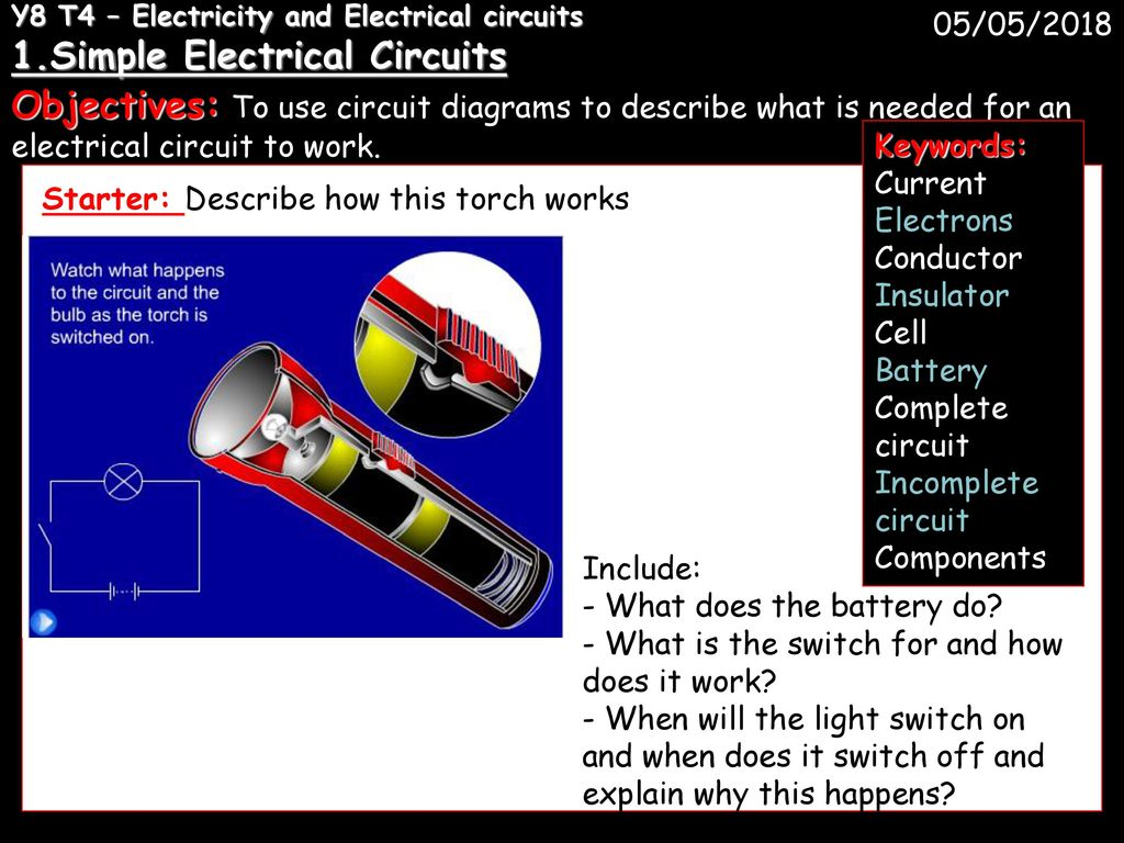 Y8 T4 Electricity And Electrical Circuits 1 Ppt Download Electric Circuit With Switch Battery Lamp A Series