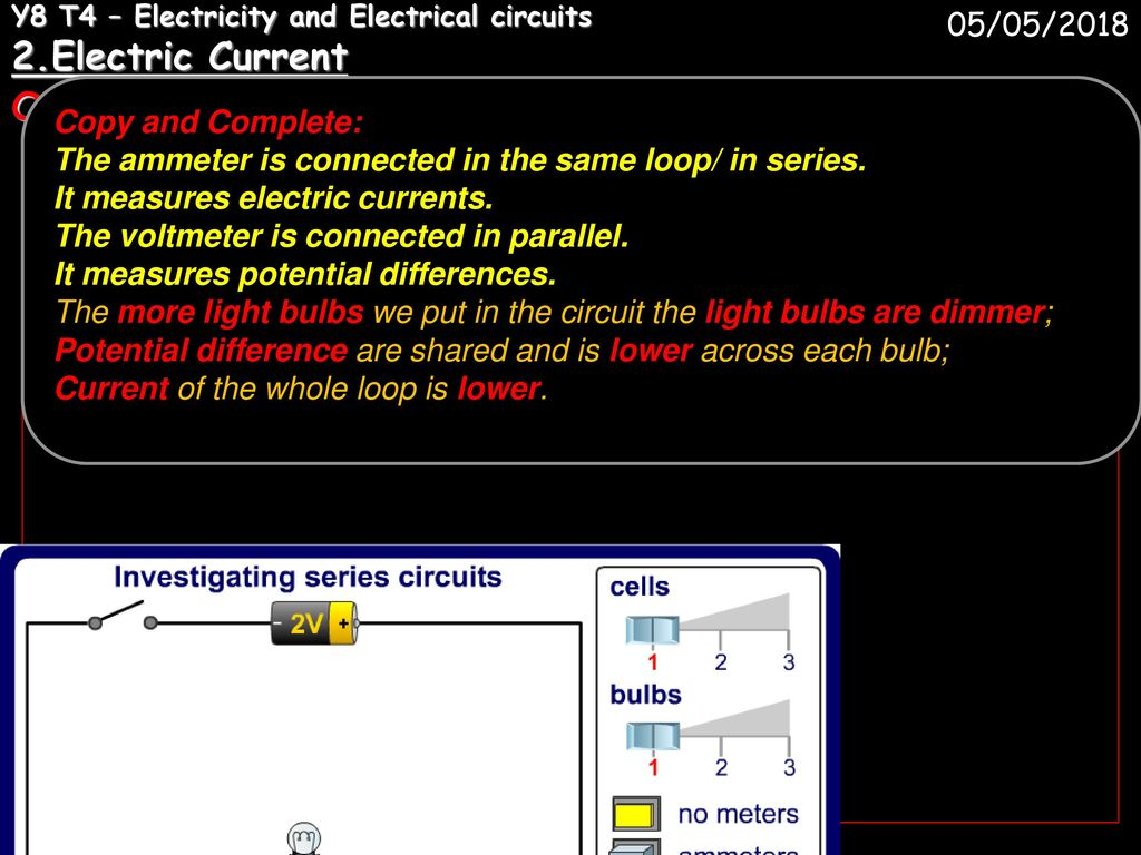 Y8 T4 Electricity And Electrical Circuits 1 Ppt Download Measurements In Electric 2electric Current