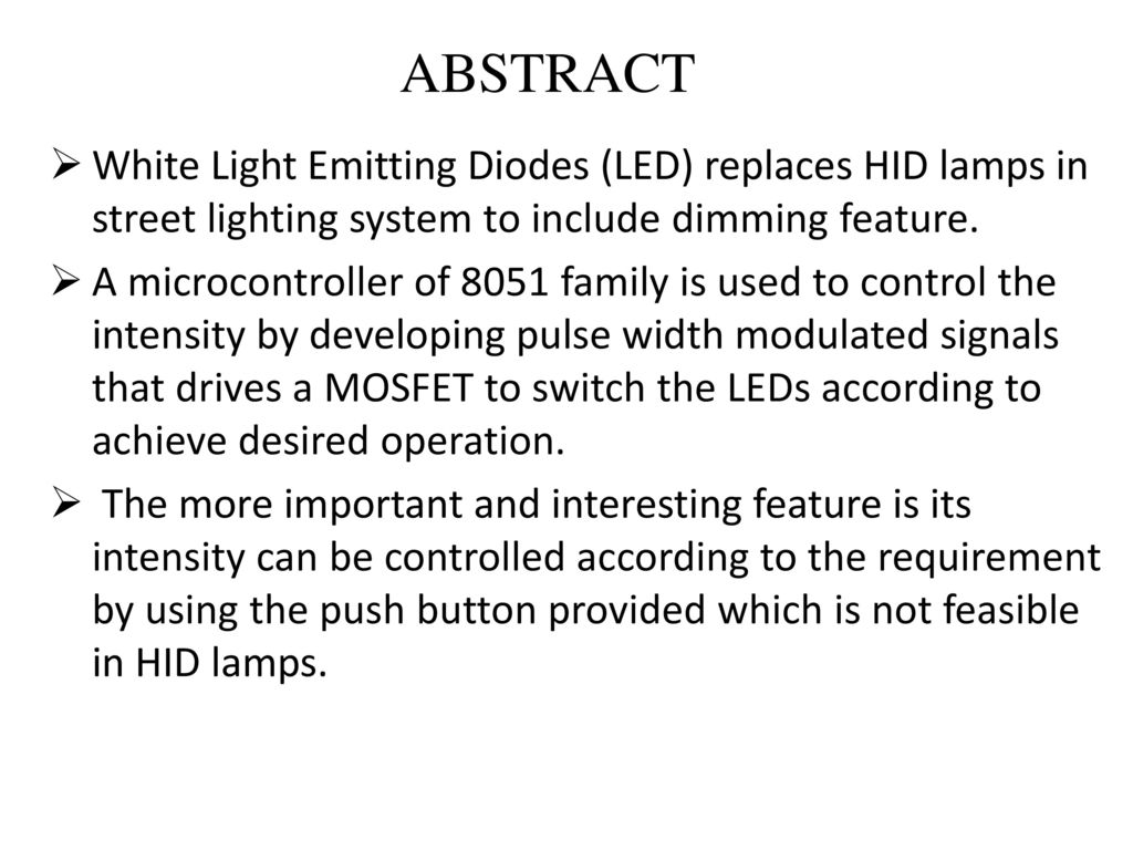 Led Lamp Dimmer Circuit Ppt Download 2 Flasher Using Mosfet Abstract