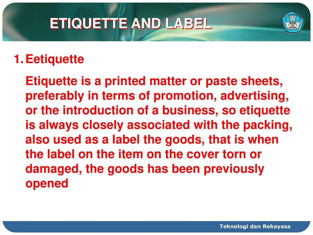 9 etiquette and label eetiquette