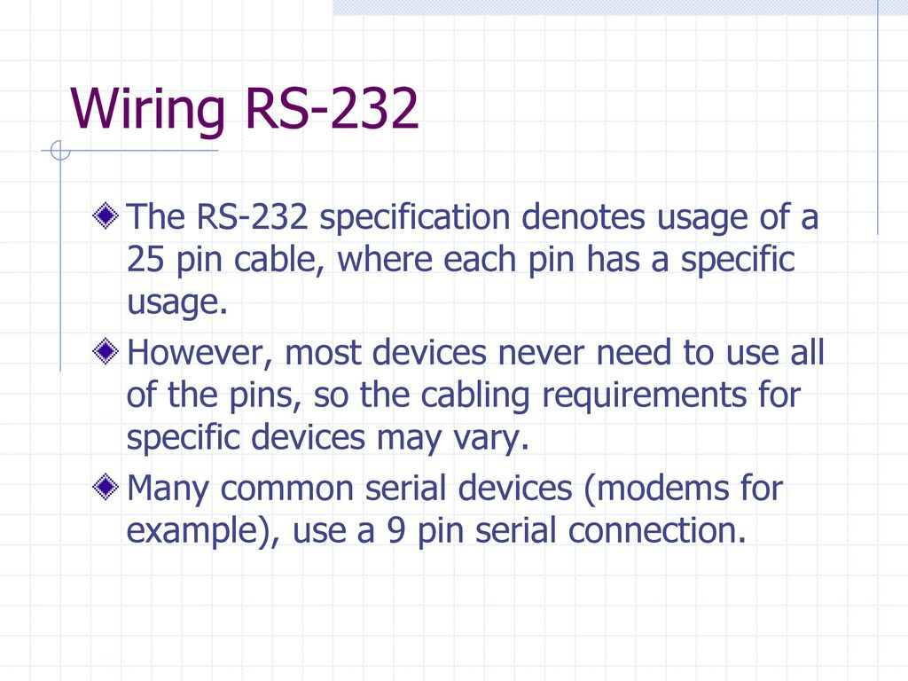 Rs 232 Communications Ppt Download 25 Pin Rs232 Wiring Diagram However Most Devices Never Need To Use All Of The Pins So Cabling Requirements For Specific May Vary Many Common Serial Modems