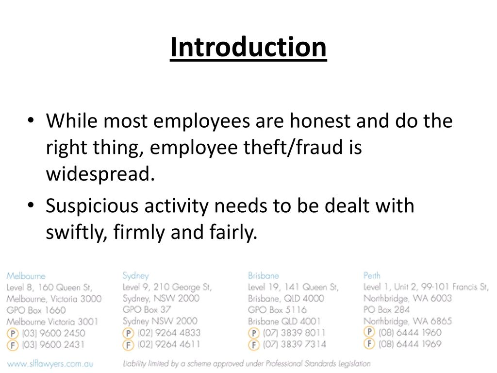 Introduction While Most Employees Are Honest And Do The Right Thing Employee Theft Fraud