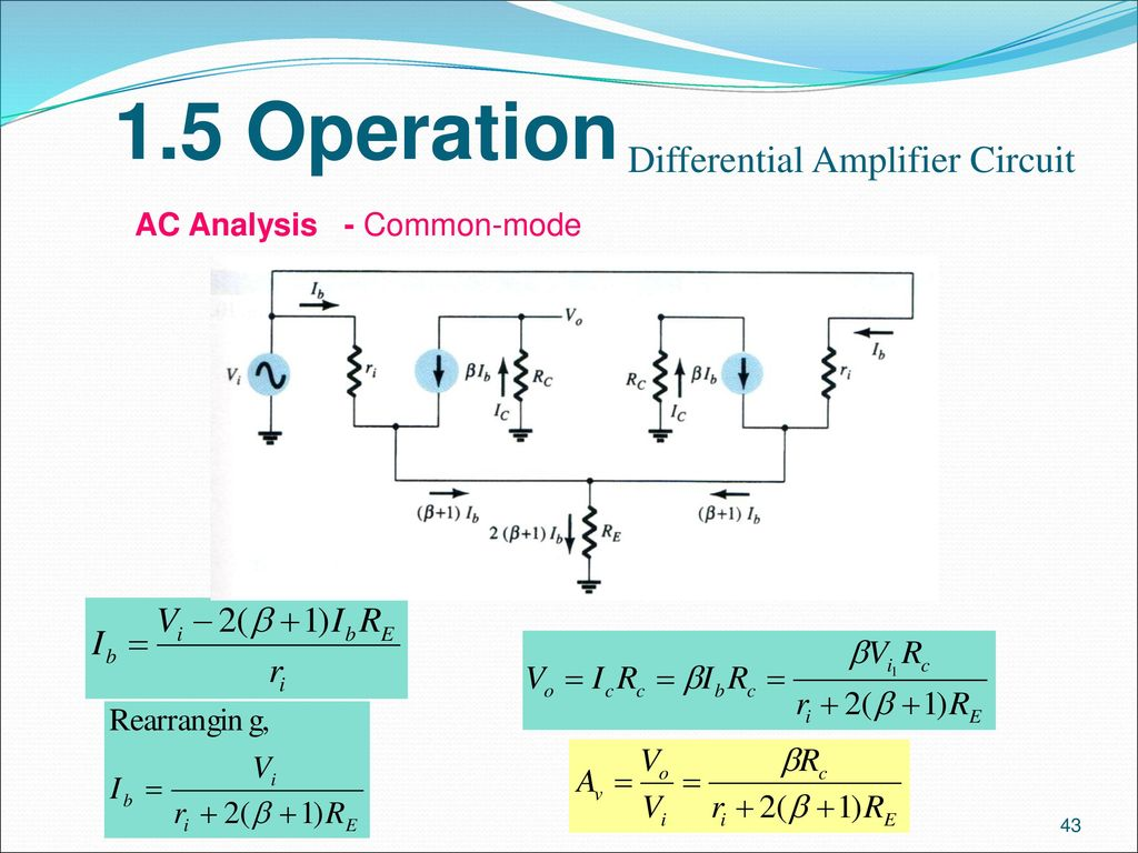 Analogue Electronics Ii Emt 212 4 Ppt Download Quartz Crystal Sine Wave Oscillator Circuit Basiccircuit 43 15 Operation Differential Amplifier Ac Analysis Common Mode