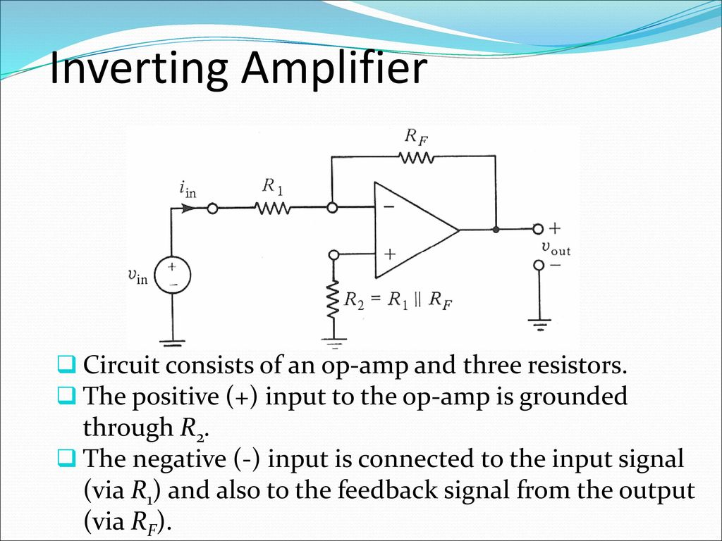 Analogue Electronics Ii Emt 212 4 Ppt Download Amplifier Circuit Diagram Analogcircuit Basiccircuit Inverting Consists Of An Op Amp And Three Resistors