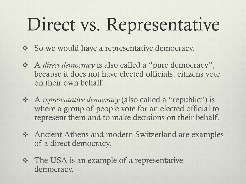 direct vs representative democracy