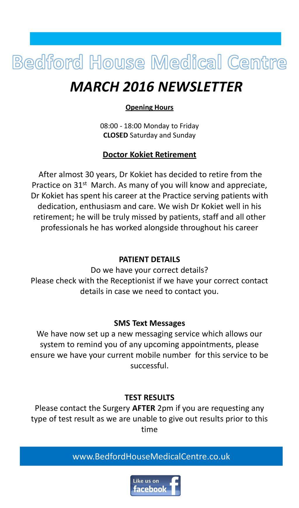 bedford house medical centre doctor kokiet retirement ppt download