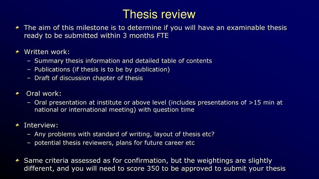 thesis review milestone uq