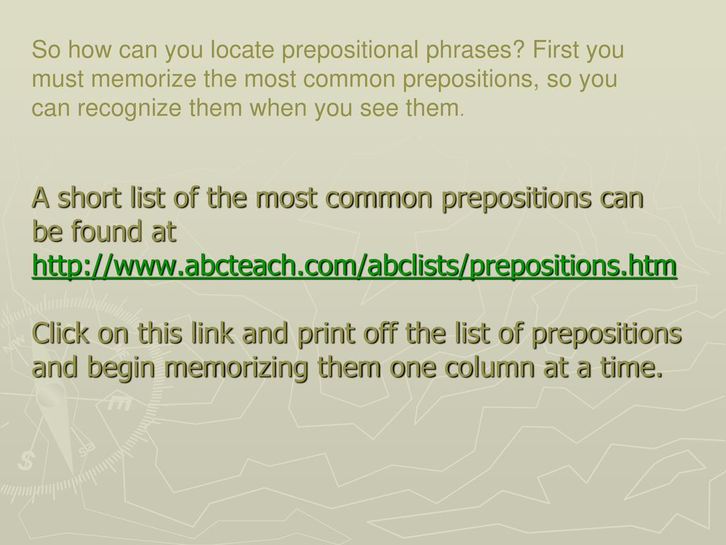 The Parts of Speech: Prepositions and Their Phrases - ppt