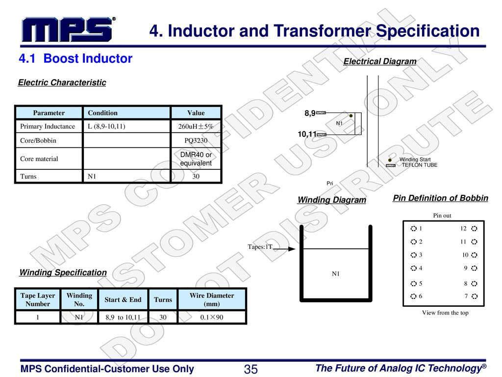 inductor and transformer specification