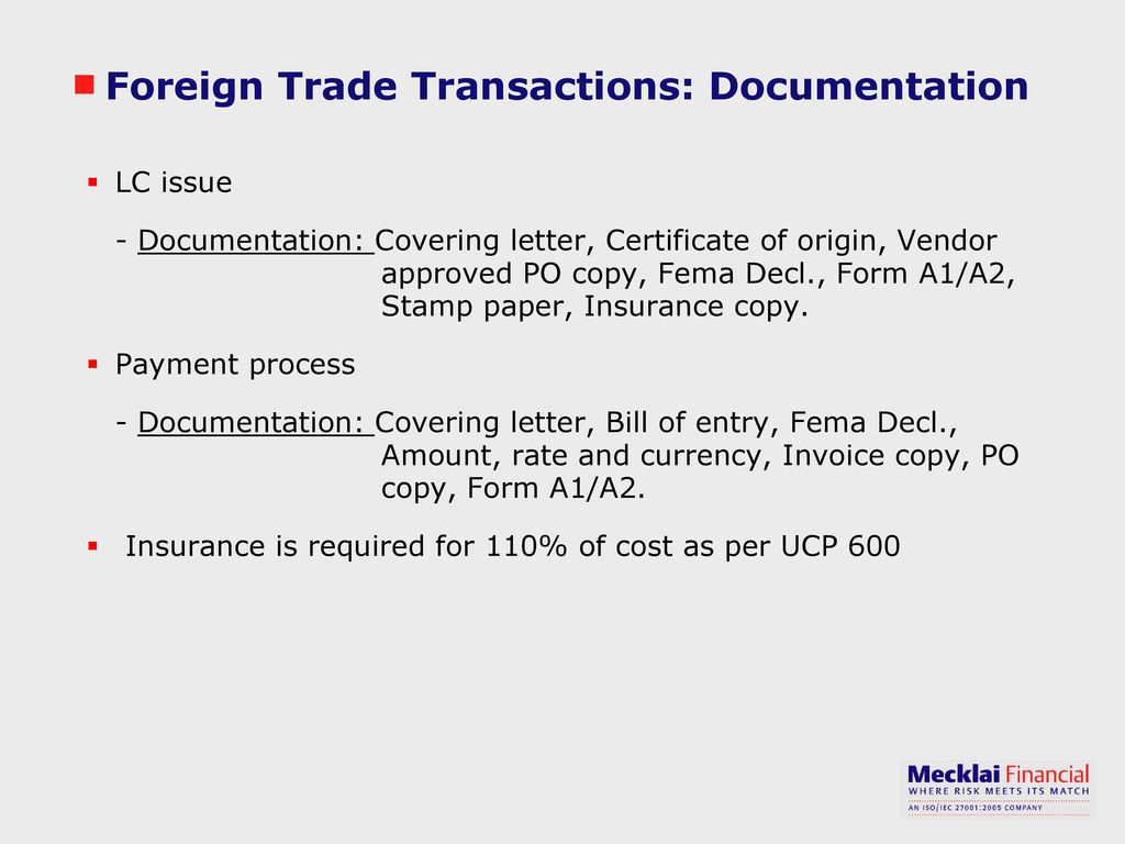 Foreign Trade Transactions: Documentation