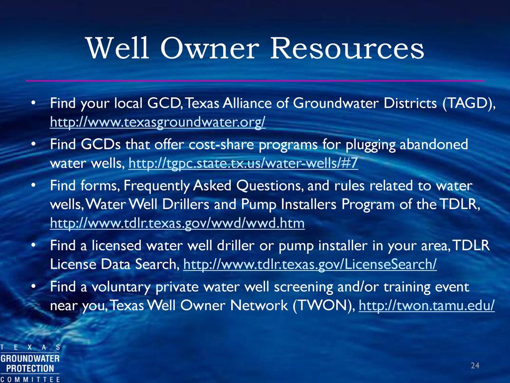Texas Groundwater Protection Committee and Abandoned Water