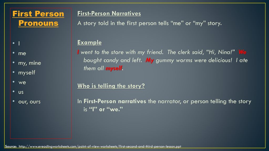 Narrative Point Of View Ppt Download First person point of view <ul><li>in the first person point of view, the narrator participates in the action of the story. narrative point of view ppt download