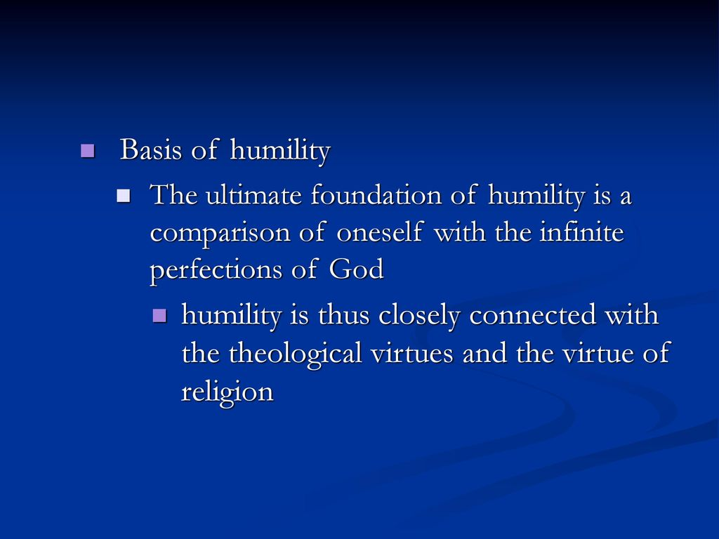 The virtue of humility as the basis of holiness