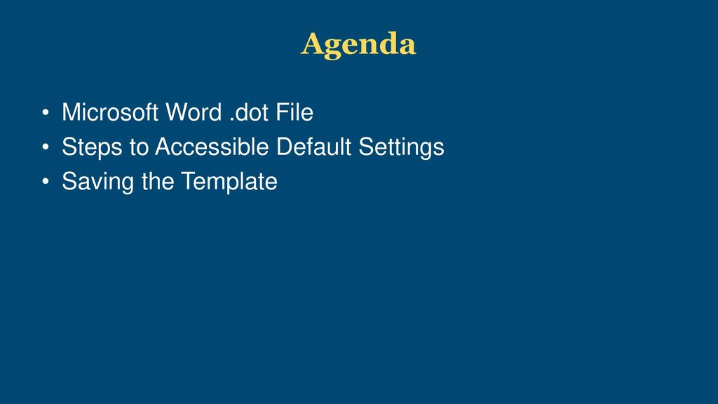 Setting Defaults In Microsoft Word For Accessibility Ppt Download