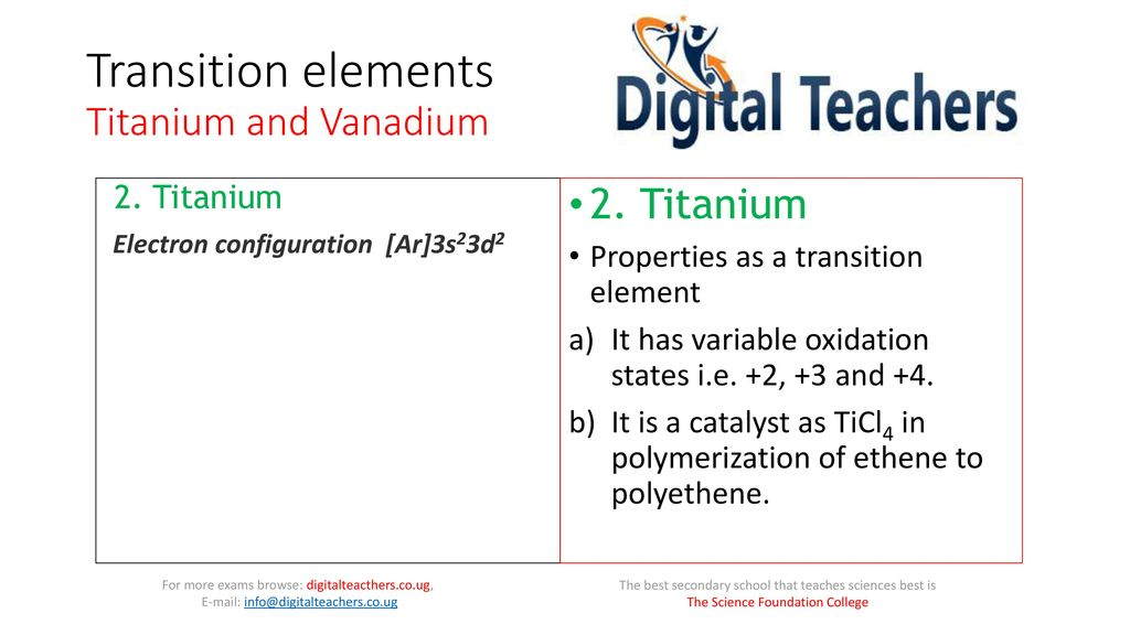 Transition Elements Titanium And Vanadium Ppt Download