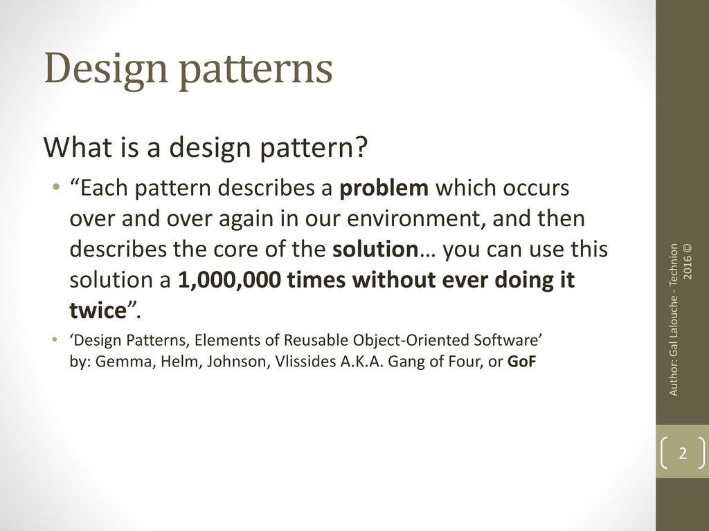 Gang Of Four Patterns Unique Design
