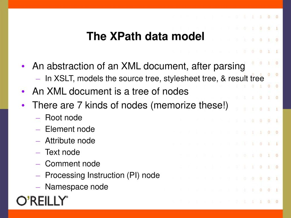 The XPath data model An abstraction of an XML document, after parsing