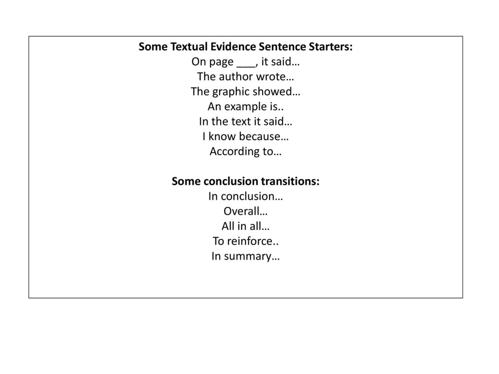 sentence starters for summaries