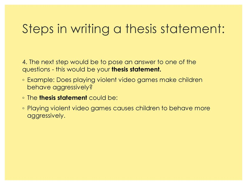 thesis statement video games