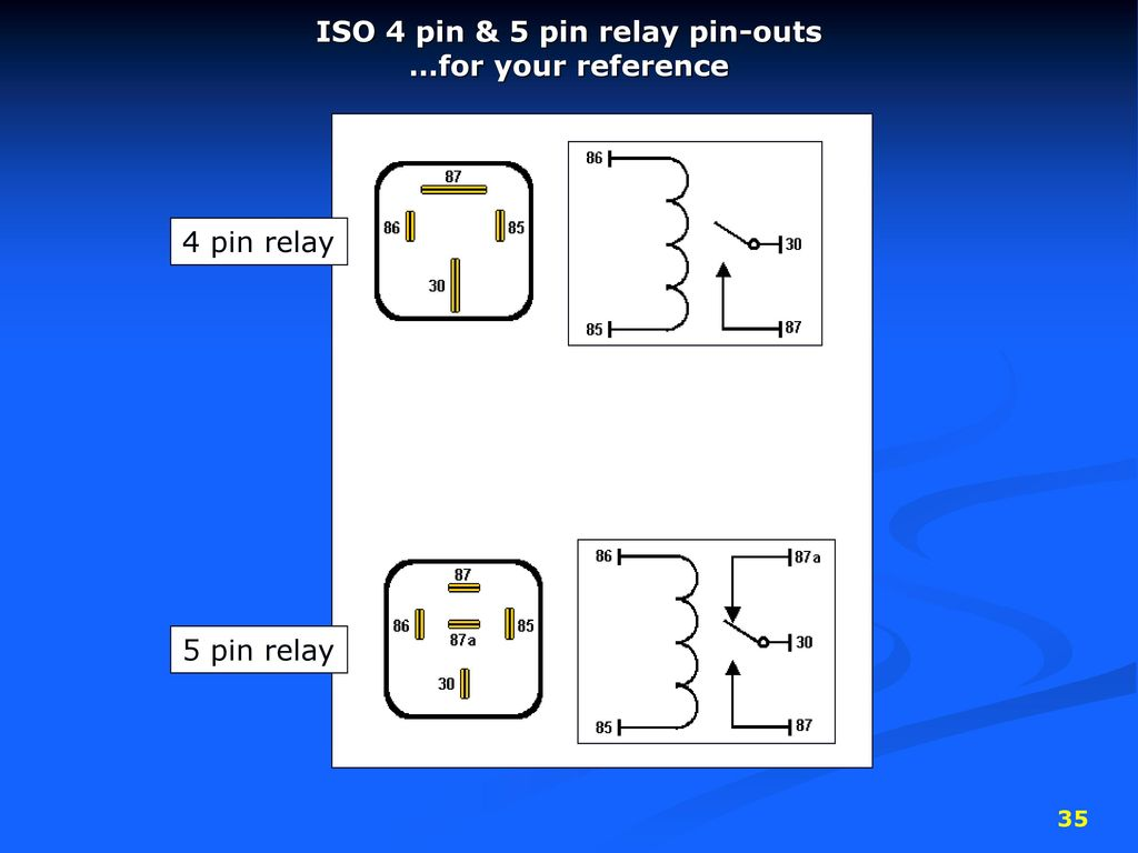 Diagram For The 4 Pin Relay And 5 Pin Relay