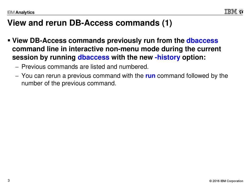 View and rerun DB-Access commands (1)