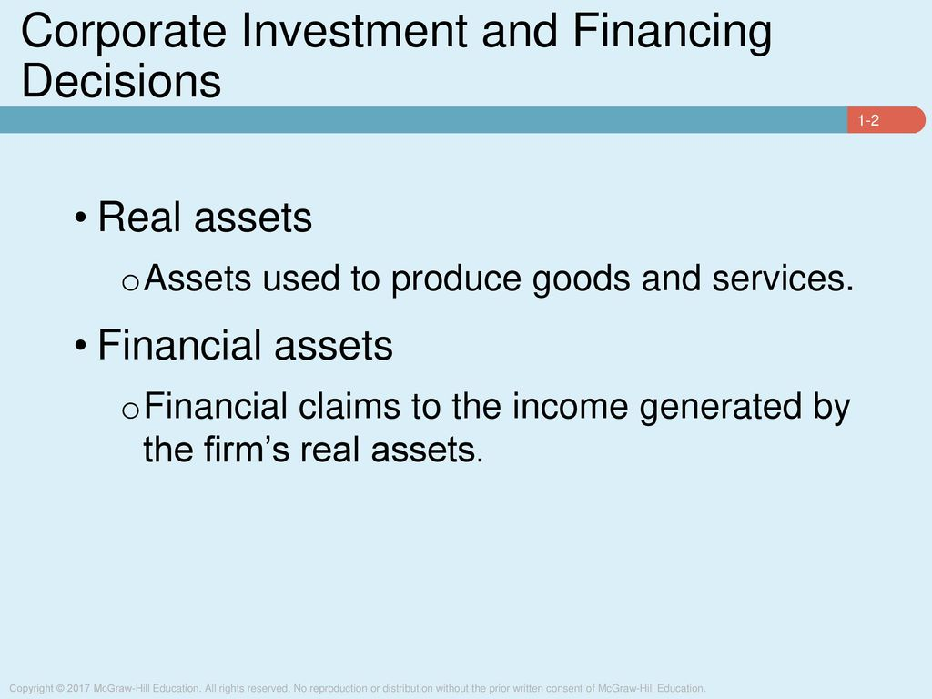 Corporate Investment And Financing Decisions