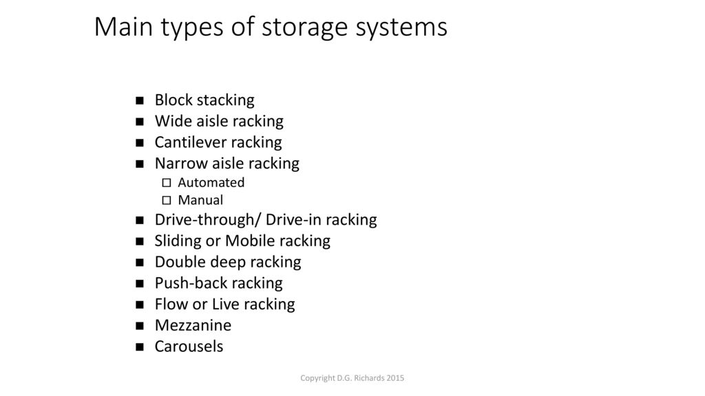 Storage and Warehousing Techniques - ppt download