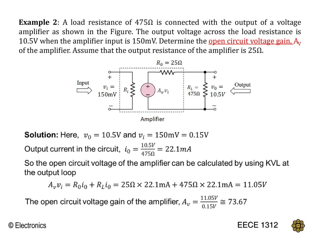 Chapter 1 Introduction To Electronics Ppt Download Calculate Output Impedance Of Transistor And Electrical Example 2 A Load Resistance 475 Is Connected With The Voltage