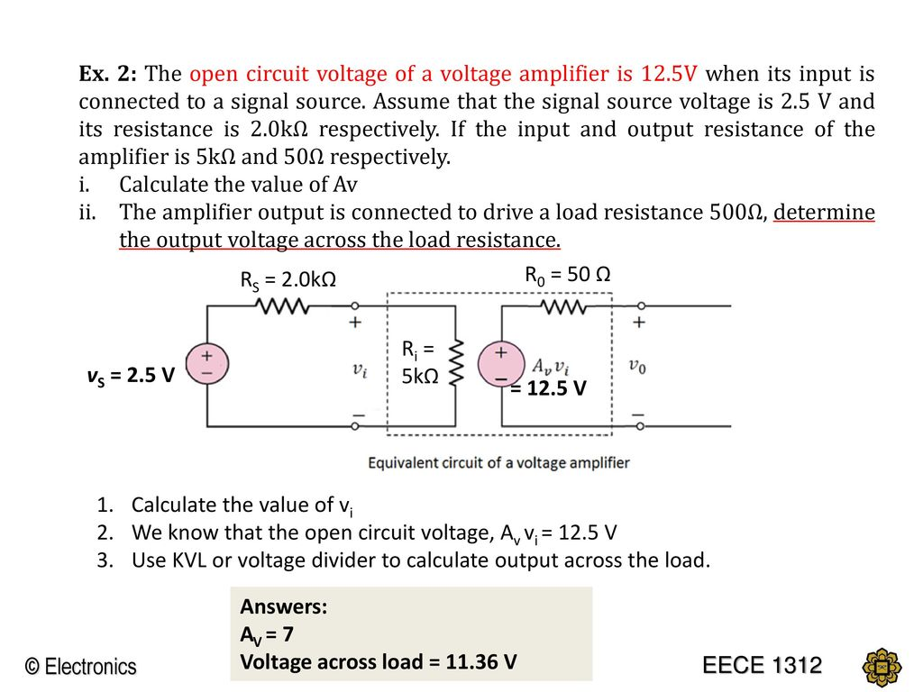 Chapter 1 Introduction To Electronics Ppt Download Calculator Do Output Impedance Represents The Ability Of A Circuit Ex 2 Open Voltage Amplifier Is 12