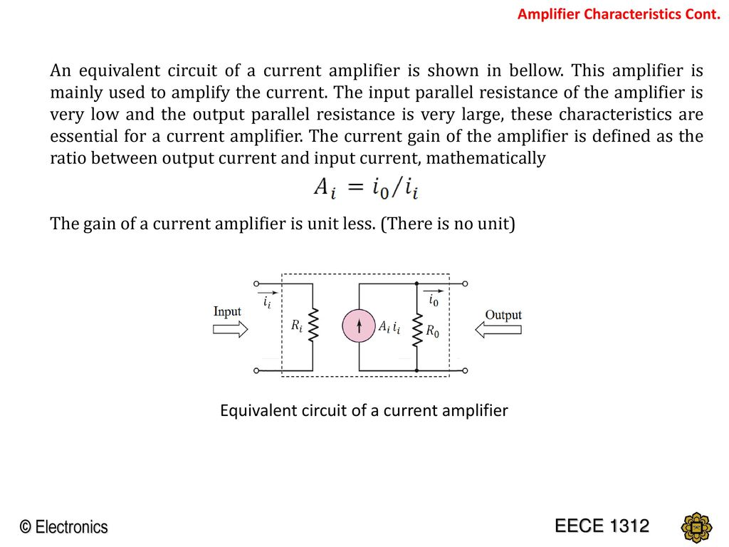 Chapter 1 Introduction To Electronics Ppt Download Current Amplifier Circuit The Gain Of A Is Unit Less There No