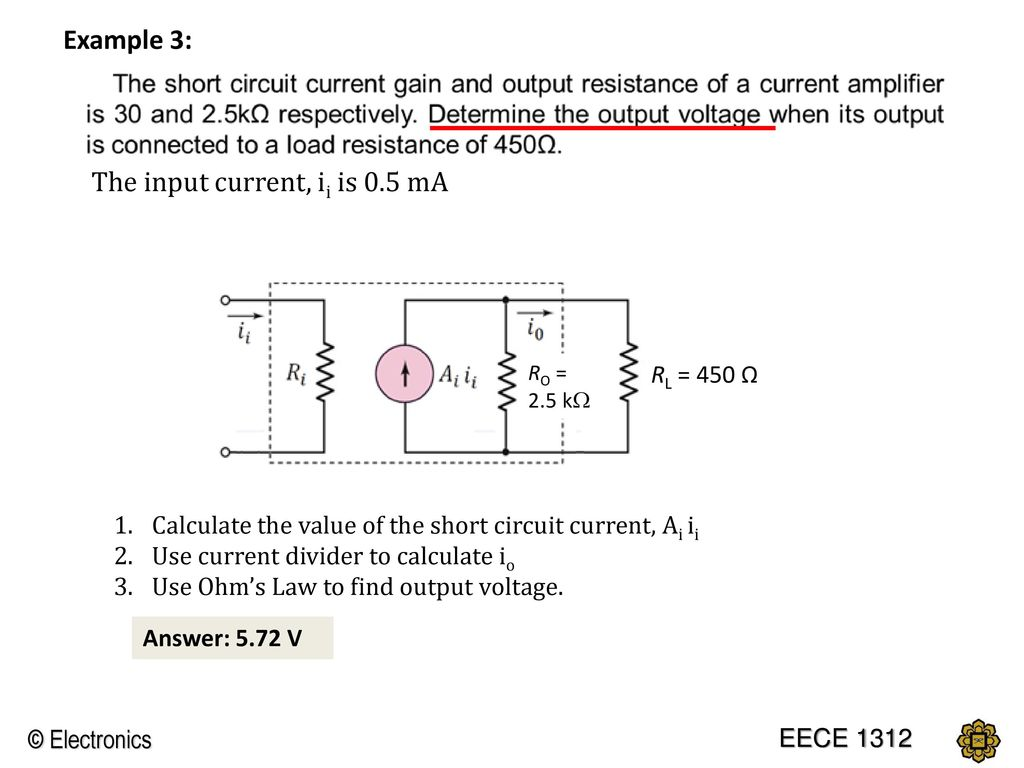 Chapter 1 Introduction To Electronics Ppt Download Circuit Without A Load Then Use The Voltage Divider Calculator For Ac Input Current Ii Is 05 Ma