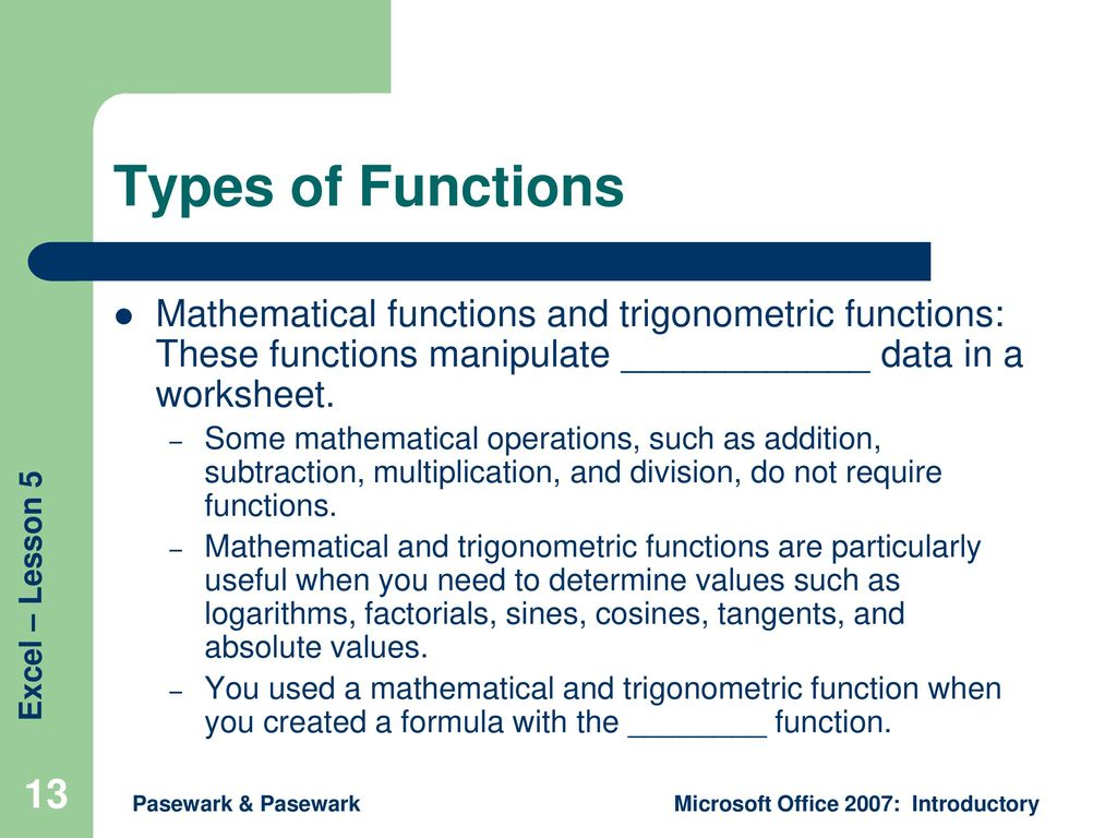 Excel Lesson 5 Using Functions - ppt download