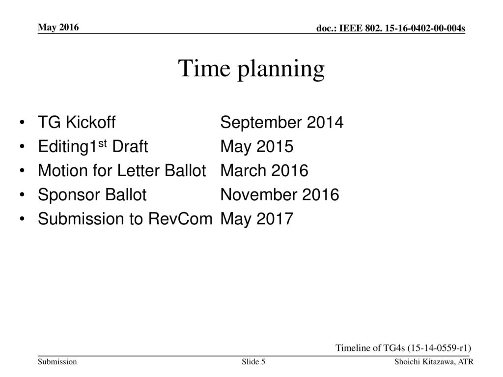 Time planning TG Kickoff September 2014 Editing1st Draft May 2015