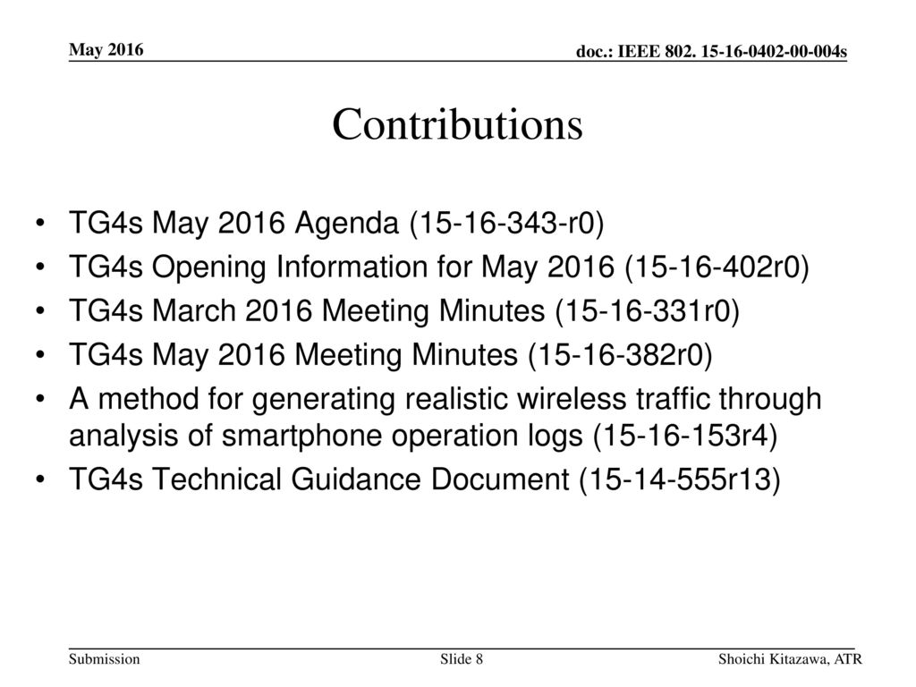 Contributions TG4s May 2016 Agenda ( r0)