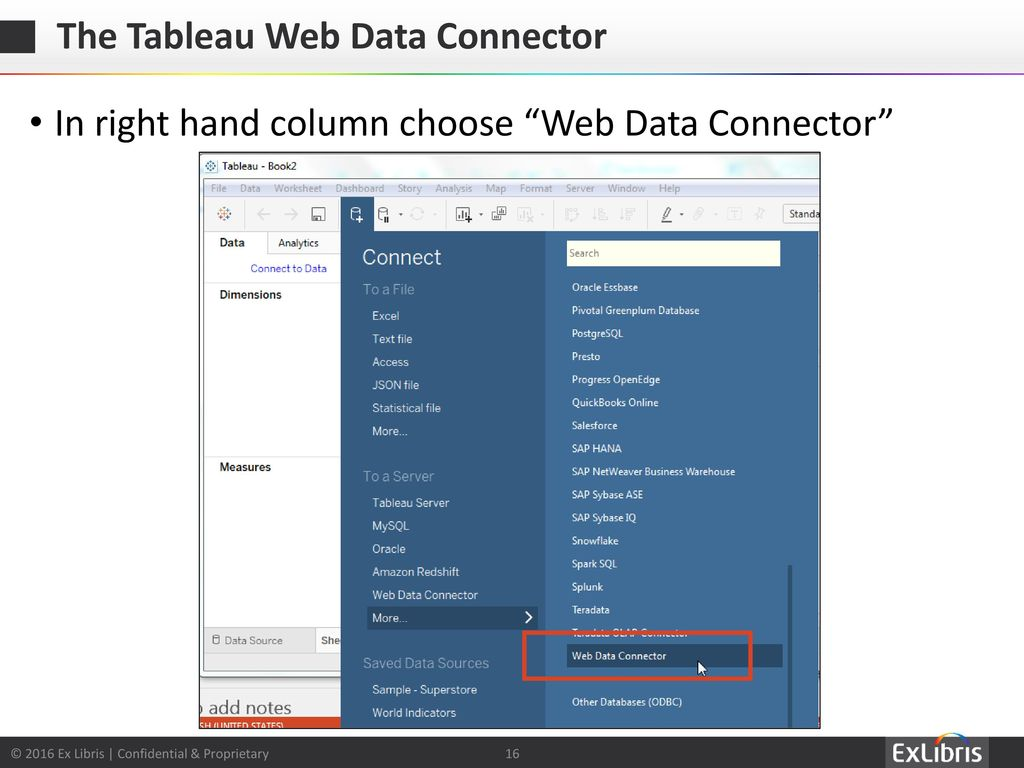 Using Alma Analytics with the Tableau Web Data Connector