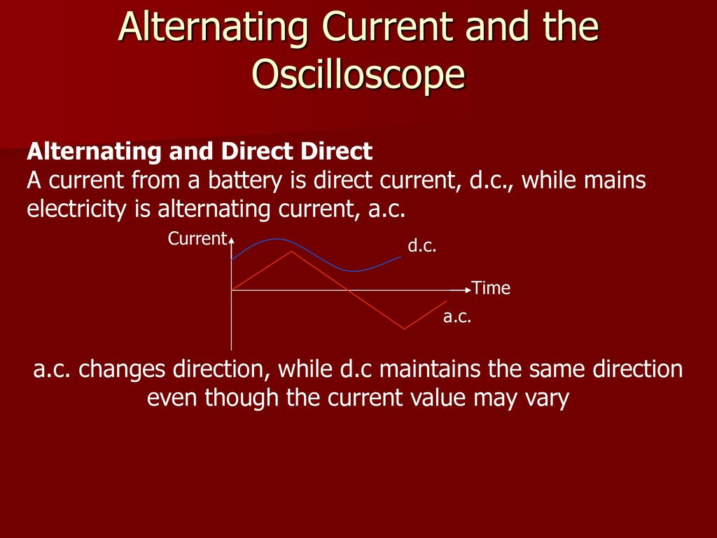 Current Electricity And Elastic Properties Ppt Download The From A Battery Is Direct Alternating Oscilloscope