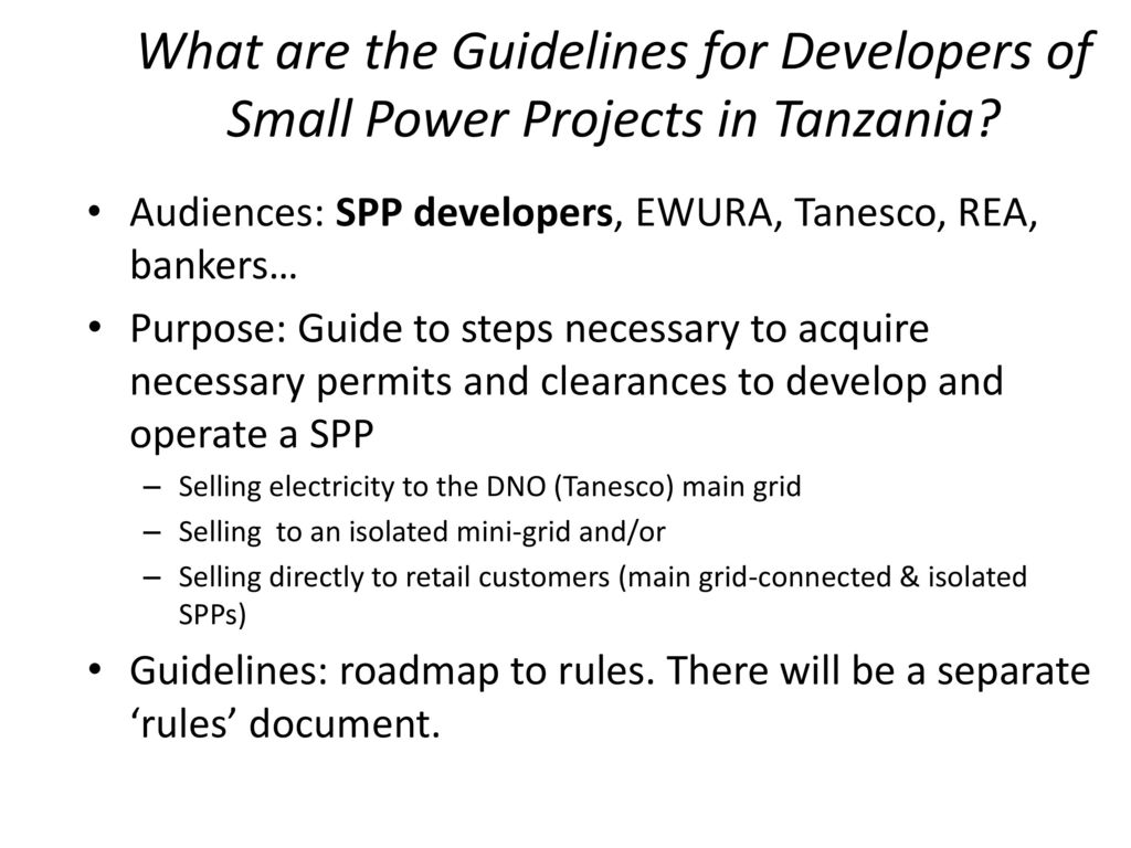 Towards Light Handed Regulations for Small Power Producers (SPP) in