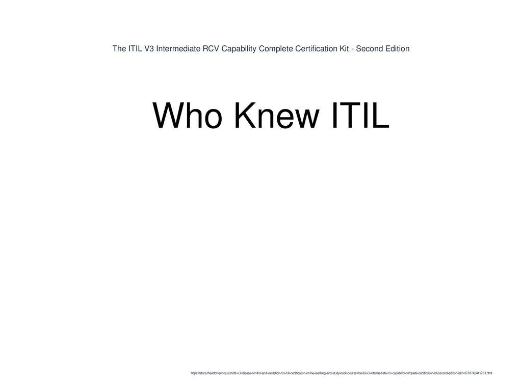 The Itil V3 Intermediate Rcv Capability Complete Certification Kit
