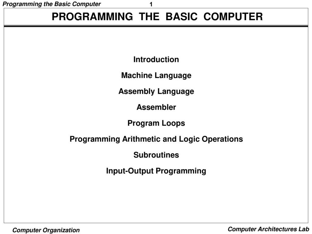 PROGRAMMING THE BASIC COMPUTER - ppt download