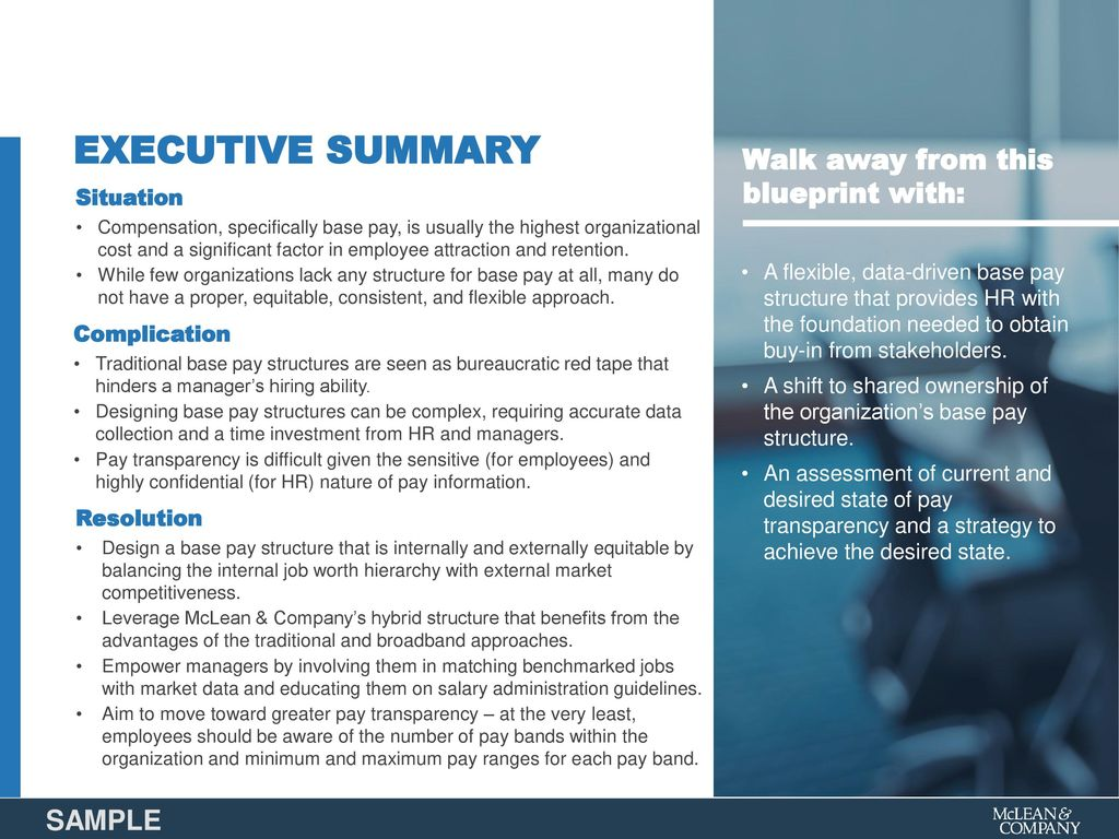 Design a base pay structure ppt download executive summary walk away from this blueprint with sample situation malvernweather Image collections