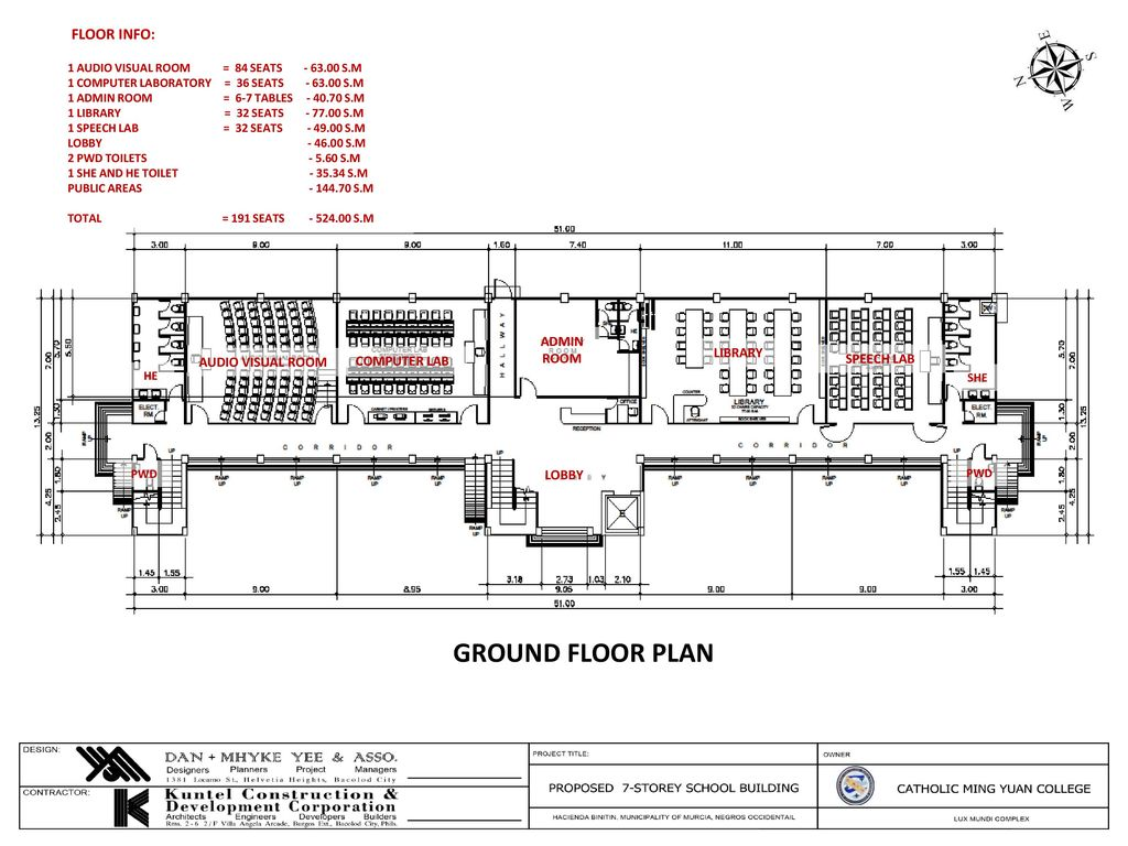 Ground floor plan proposed 7 storey school building floor info admin