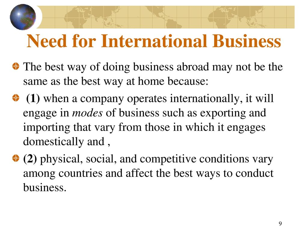 reasons for doing international business