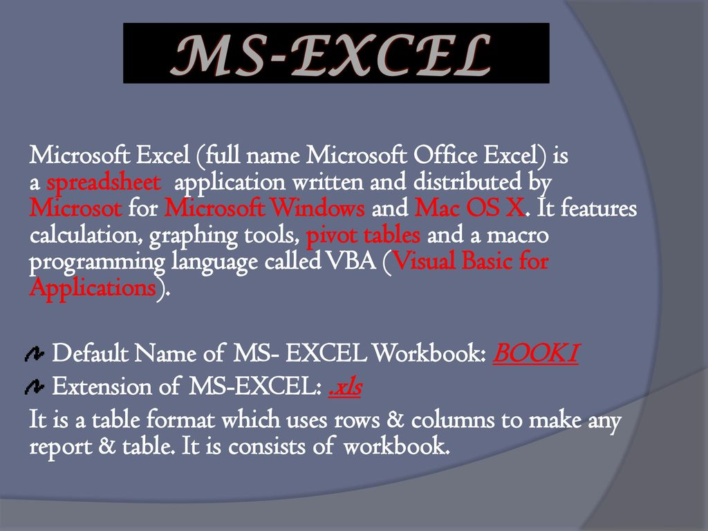 PROJECT ON MS EXCEL.   ppt download