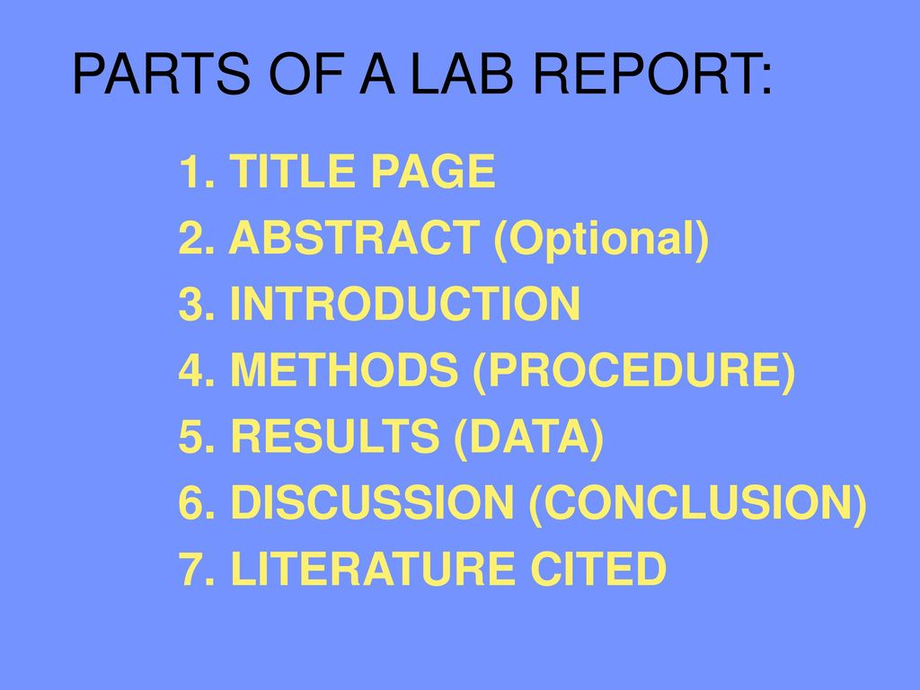 parts of a lab report 1 title page 2 abstract optional