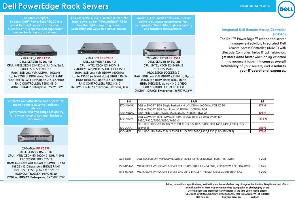 Dell PowerEdge Rack Servers - ppt download
