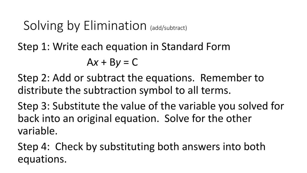 Solving Systems Of Equations By Elimination Ppt Download