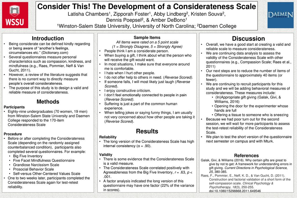Consider This! The Development of a Considerateness Scale - ppt download
