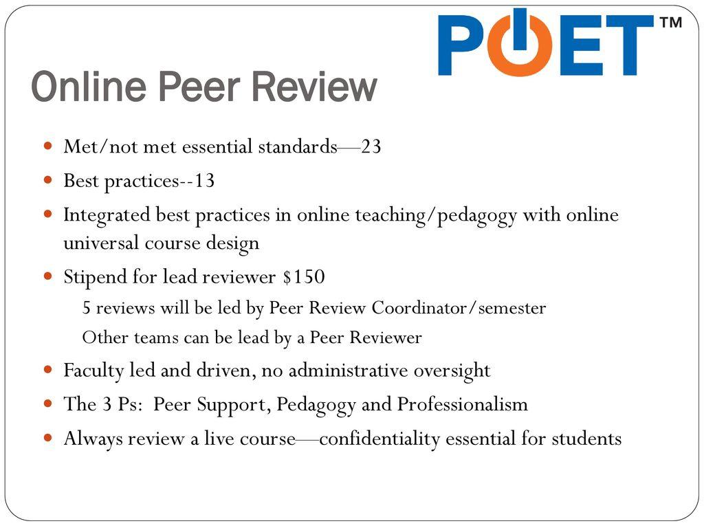 Jody Ondich POET Peer Review Coordinator - ppt download